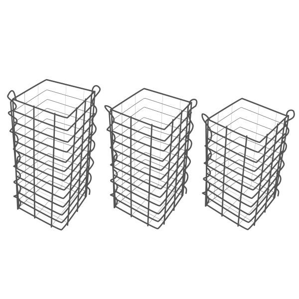 Gabionensäule 3er Set Eckig 25 x 25 cm - 50, 60 und 70 cm hoch