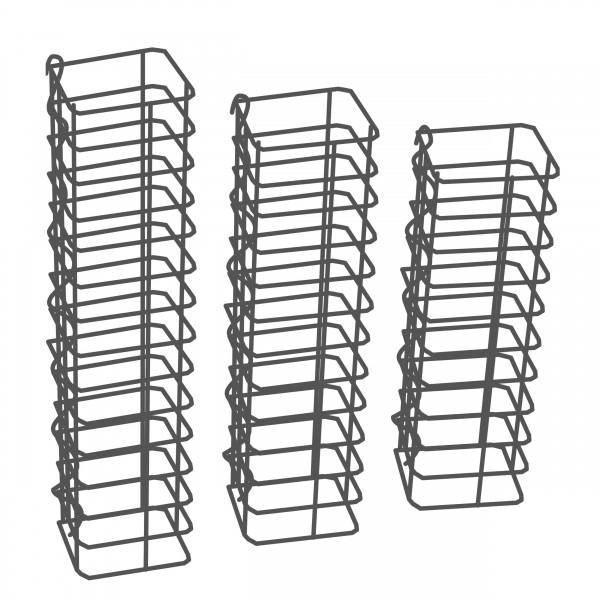 Gabionensäule 3er Set Eckig Zink-Aluminium 12,5 x 12,5 cm - 50, 60, 70 cm hoch - Maschenweite 5x10