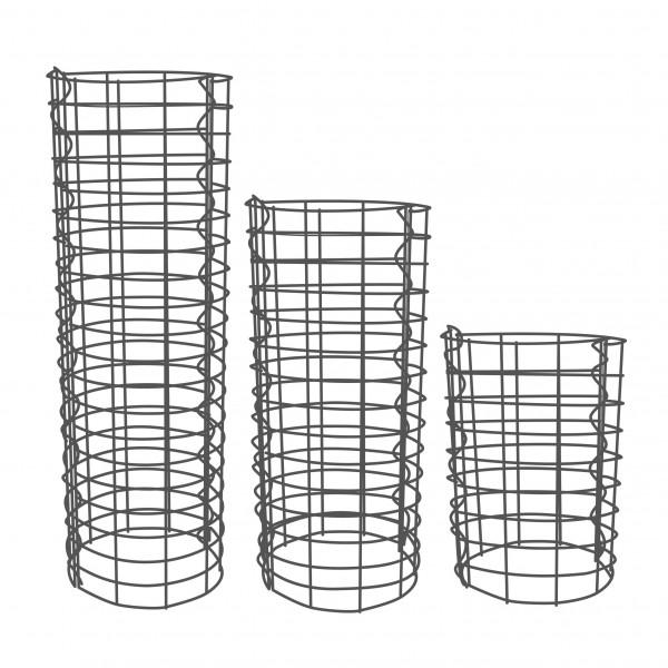 Gabionensäule 3er Set Rund Zink-Aluminium 33 Ø cm - 50, 100, 150 cm hoch - Maschenweite 5x10