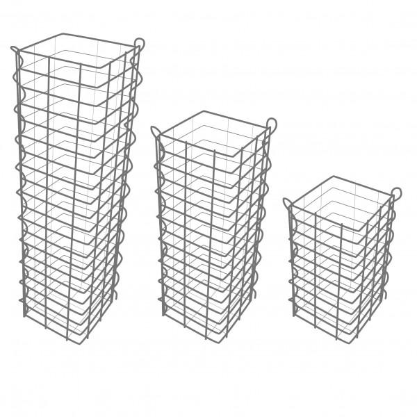 Gabionensäule 3er Set Eckig - Zink-Aluminium 25 x 25 cm - 50, 100, 150 cm hoch - Maschenweite 5x10