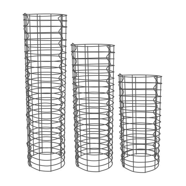 Gabionensäule 3er Set Rund Zink-Aluminium 33 Ø cm - 100, 150, 190 cm hoch - Maschenweite 5x10