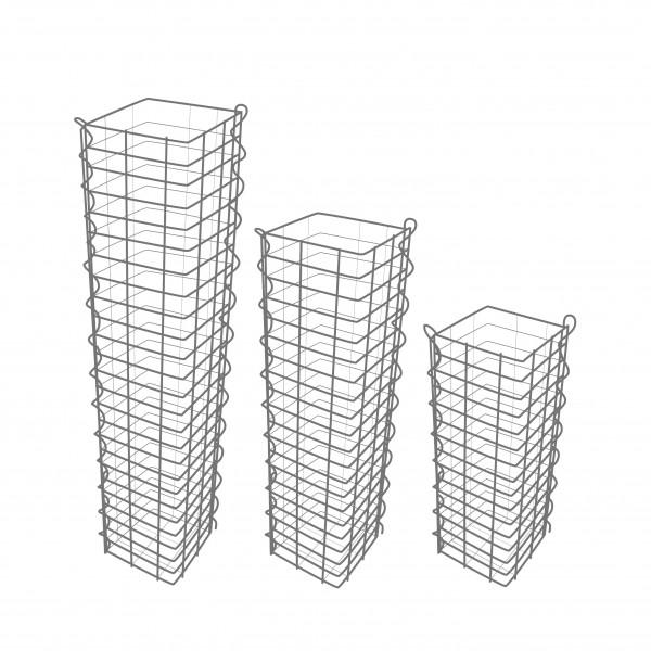 Gabionensäule 3er Set Eckig - Zink-Aluminium 25 x 25 cm - 100, 150, 190 cm hoch - Maschenweite 5x10