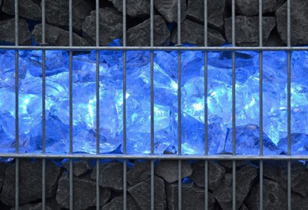 Gabionen LED Beleuchtung - 360° Abstrahlwinkel - blau
